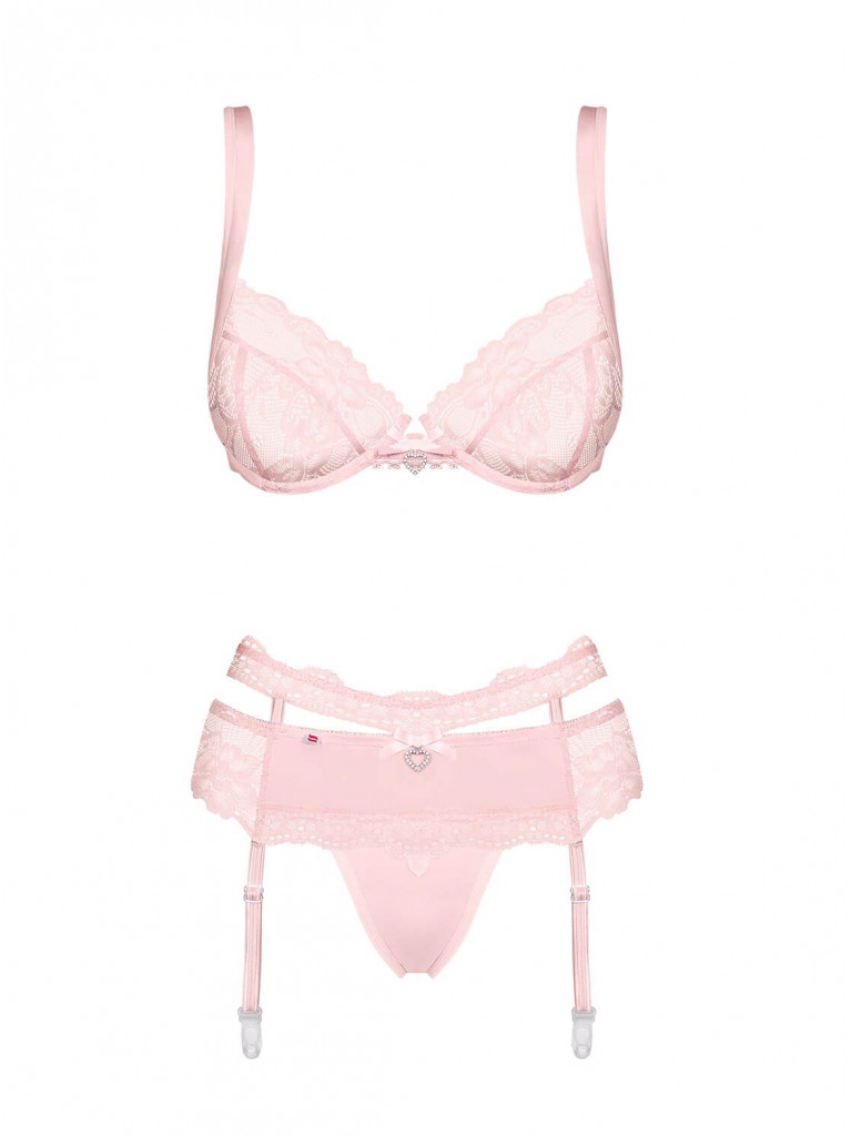Ensemble de lingerie rose poudré Heartina